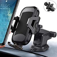 Anzmtosn Car Phone Mount Holder, Easy Clamp Dashboard Air Vent Hands Free Cell Phone Holder Windshield Strong Suction Cup Compatible iPhone X/XR/XS/8 Plus/8/7/6s, Samsung Galaxy S10/S9/S8/S7