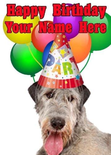 Irish Wolfhound Chien Chapeau de fête carte d'anniversaire Codeiw A5personnalisé carte de vœux