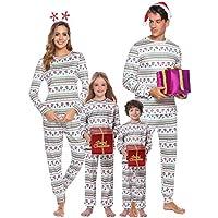 iClosam Jul sovdräkt familj pyjamas set tryckta nattkläder Homewear tvådelad långärmad tröja och pyjamas för far, mor, barn