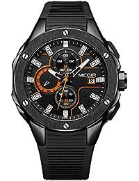 f77f13ce9094 MEGIR - Reloj Resistente a Agua para Hombre de Análogico Cuarzo de Silicona  con Cronógrafo Reloj