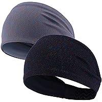 2 piezas deportivas diadema, Sunbeter antideslizante transpirable Yoga Sweatband para baloncesto, correr, pilates, voleibol invierno deportes al aire libre para mujeres y hombres (negro + gris)