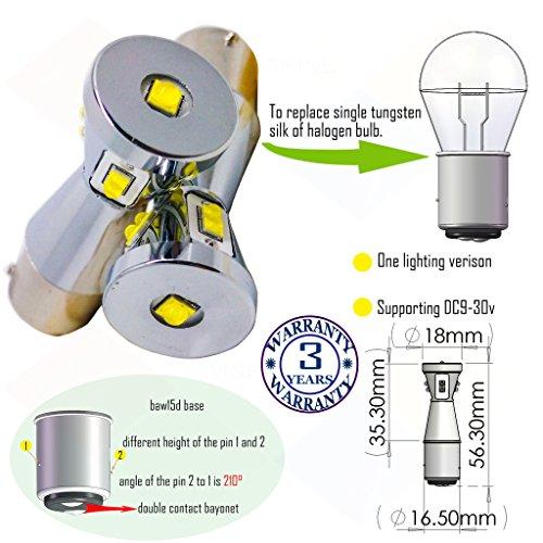 Preisvergleich Produktbild Wiseshine 3000k baw15d led birne lampen DC9-30v 3 Jahre Qualitätssicherung (2 Stück) baw15d 9 led HP warmweiß