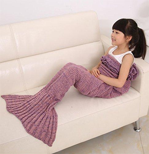 Hengsong Gestrickte Meerjungfrau Schwanz Decke warme weiche Schlafsack Geburtstag Weihnachtsgeschenk für Kinder 55.12*27.56inch (Rosa)