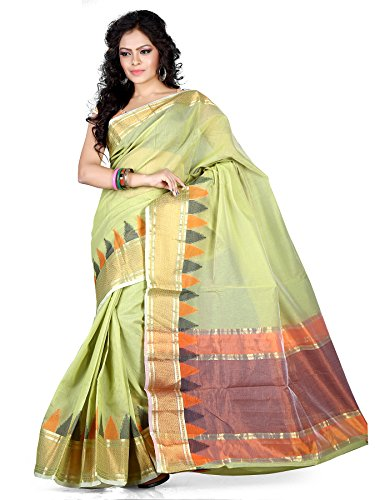 Asavari Pistachio Green Weaved Banarasi Cotton Saree  available at amazon for Rs.999