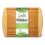 Extragrosses Bio Bambus Schneidebrett mit Rille - Erstklassiges Tranchierbrett für die Küche