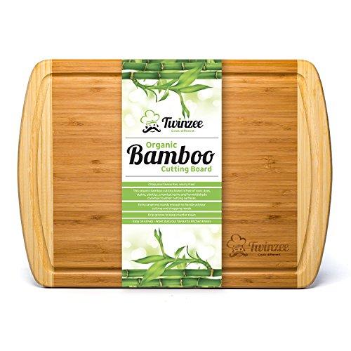 Tabla de cortar de bambú ecológico EXTRA GRANDE – La mejor tabla de cortar con surco para la cocina