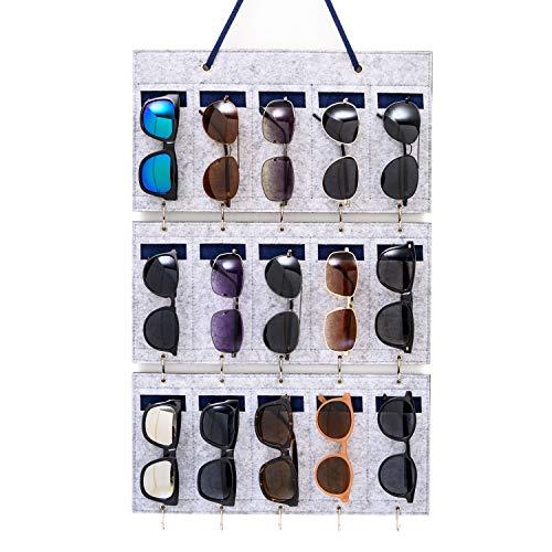 BOKENTO Sonnenbrillen-Organizer zum Aufhängen, 15 Schlitze, abnehmbare Brillen, Filz, Wandaufhängung mit Haken für Schlüssel (grau)