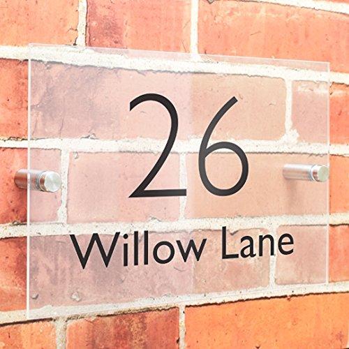 De qualité premium, effet verre acrylique personnalisé Maison plaques de nom et numéro