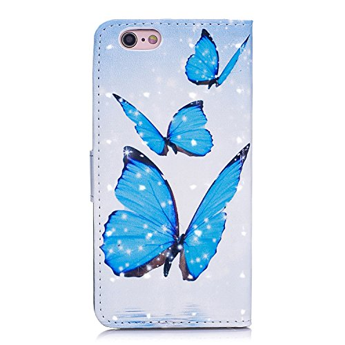 6 Plus Hülle, 6S Plus Hülle, iPhone 6 Plus Hülle, iPhone 6S Plus Hülle, iPhone 6 Plus / iPhone 6S Plus Hülle Muster, iPhone 6 Plus / 6S Plus Leder Wallet Tasche Brieftasche Schutzhülle, BONROY 3D Bunt Blauer Schmetterling