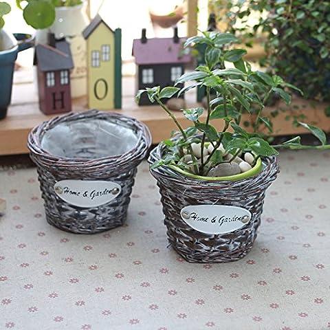 KXZZY Home decorazioni con Retro-Wicker piccoli cesti di fiori carnosi Piante Verdi prendere cestello