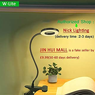 W-Lite 6W LED USB Clip on Light for Bed, Book Reading,Desk Lamp (Black) with Clamp, Eye Protection for Office, Study, Bedroom, Piano, Headboard. Warm/Cool Light Colour(Adapter Isn't Included)
