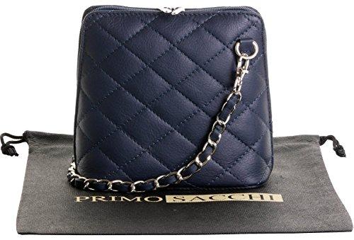 Italienische Marine blau Leder klein/Micro gesteppte Umhängetasche Handtasche mit Metallkette und Leder, Riemen umfasst eine Marke schützenden Aufbewahrungstasche (Marine-blau-handtasche)
