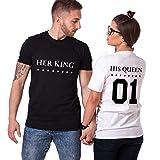 King Queen Couple Shirt Shirt 100% Coton Tees Shirts pour Roi Reine Imprimé 01 Tops à Manches Courtes Cadeau Anniversaire de Mariage 2 Pièces Chemise Casual Été(BK-King-M+wh-Queen-S)