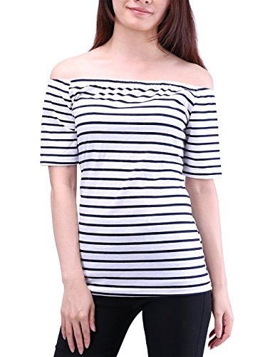 HDE Women's Off Shoulder Top Short Sleeve Shirt Nautical Stripe Casual Blouse