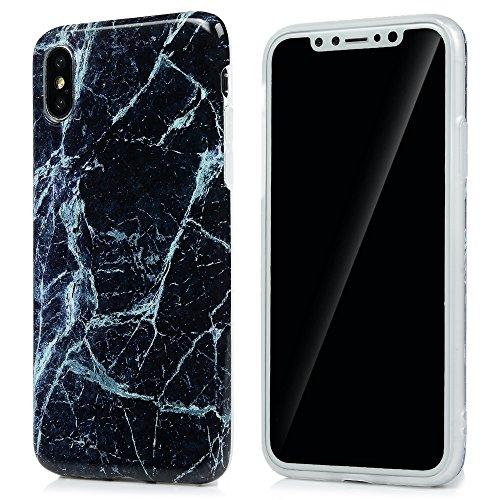 MAXFE.CO Schutzhülle Tasche Case für iPhone X Matte TPU Silikon Cover IMD Design Etui Protective Schale Bumper Marmor Pink + Weiß + Grau Pink + Schwarz 1 + Schwarz 2