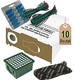 Spar Angebot Staubsaugerbeutel weiß Filter Set Bürsten und Duft ocean blau passend für Vorwerk Kobold VK 130 , Kobold VK 131 und 131 SC mit EB 350 / EB 351