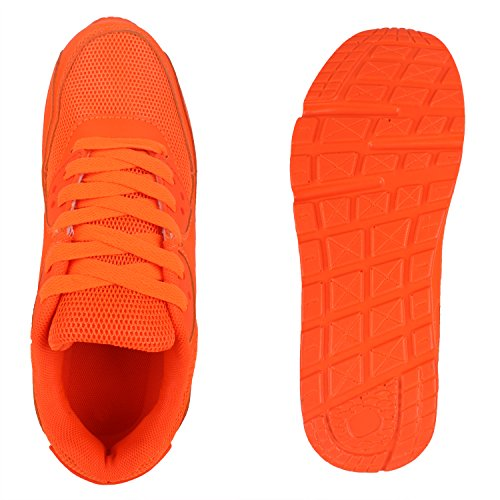 Damen Herren Unisex Sportschuhe Runners Sneakers Laufschuhe Trendfarben Neonorange