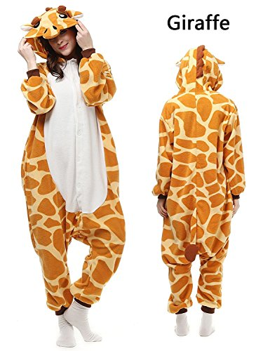ABYED Jumpsuit Tier Karton Fasching Halloween Kostüm Sleepsuit Cosplay Fleece-Overall Pyjama Schlafanzug Erwachsene Unisex Lounge, Erwachsene Größe XL -for Höhe 175-181CM, Giraffe