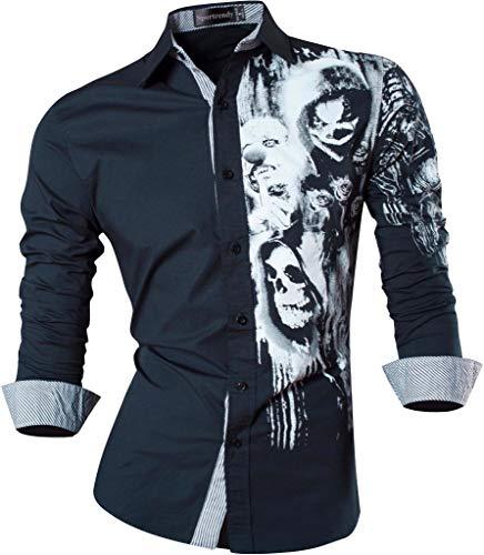 Sportrendy Herren Hemden Casual Mode Design Slim Fit Dress Shirt JZS047 Navy L -