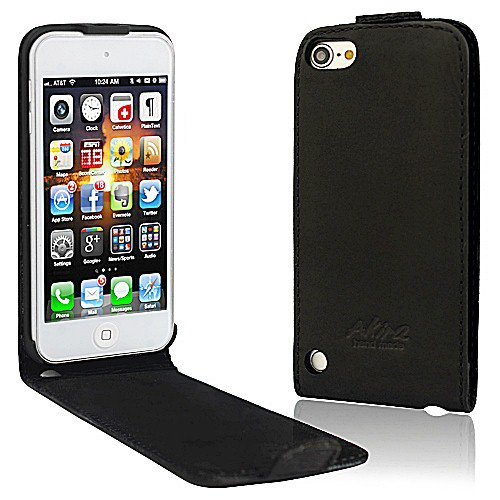 Perfect Case  ® Stil Better PREMIUM QUALITÄT Echtleder Flip Case für Apple iPod Touch 5 MP3 Player - Schwarz -