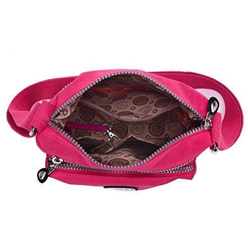 Outreo Designer Messenger Bag Schultertasche Wasserdicht Kuriertasche Mode Umhängetasche Damen Taschen Leichter Kleine Reisetasche für Mädchen Rot 2