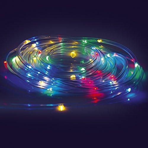 EASYmaxx 04449 LED-Lichtschlauch | Farbwechsel, 8 Leuchtmodi | 5,5 Meter | Batteriebetrieben, Spritzwassergeschützt (IP44), Indoor & Outdoor | Transparent