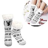 LHWY Weihnachtsstrümpfe für Damen Deer Warme Schneeflocke Komfortable Fleece Futter Slipper für Frauen (White)