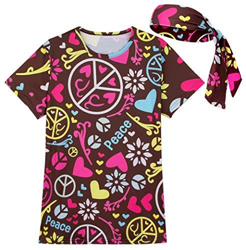 COSAVOROCK Damen 60er 70er Jahre Hippie Flower Power Kostüm T-Shirts mit Stirnbänder (XXL, Mehrfarbig) (Der 1970er Jahre Halloween-kostüme)