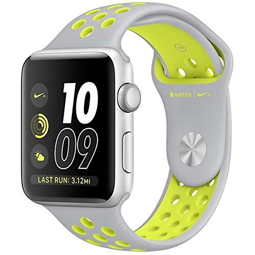 Apple Watch 2 38mm Silver Aluminum - Apple Watch Series 2-38mm Silver Aluminum Case with Flat Silver/Volt Nike Sport Band, OS 3 - MNYP2MNYP2