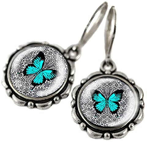 Tizi Jewellery, Blauer Schmetterling Handgemachte Silber Ohrringe mit Sterling Silber 925 Haken und versilbert Anhänger