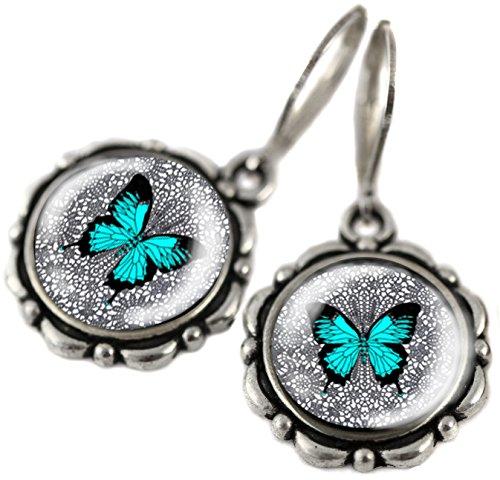 Tizi Jewellery, Blauer Schmetterling Handgemachte Silber Ohrringe mit Sterling Silber 925 Haken und versilbert (Opal Flügel Schwanz)