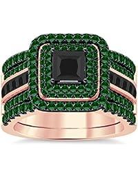 Silvernshine Enhancer Ring Guard & Engagement Ring Set Rose Gold Plated Green Garnet Sim Diamond