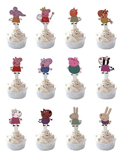 Party Hive 48pc Peppa Pig Cupcake Topper für Geburtstag Party Event Decor (Sortiment 2)