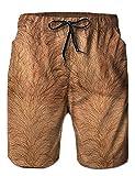 Herren Badeshorts Quick Dry Freizeithose Printed Beinhaare Coole und Lässige Hose Surfen Trunks mit Seitentaschen M