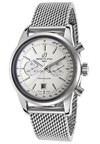 Breitling de hombre 38mm acero pulsera y caso automático blanco Dial Cronógrafo Reloj a4131012-g757ss