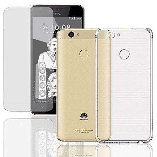 Eximmobile Silikon Case + Panzerfolie kompatibel mit HTC Desire Eye Handyhülle mit 9H Echt Glasfolie Schutzhülle mit Schutzfolie Handytasche Silikonhülle Tasche Bildschirmschutzfolie Bildschirmschutz