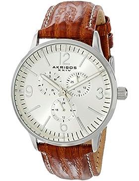 Akribos XXIV Herren Armbanduhr Analog Display Japanisches Quarz-braun