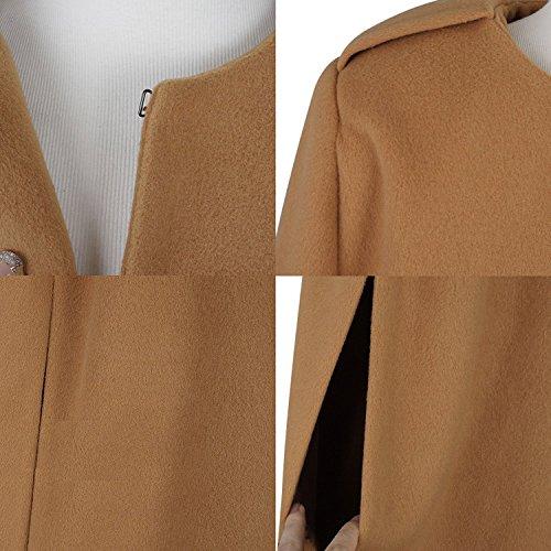 LAEMILIA Cape Femme Hiver Elégant Manteau sans Manche Chic Epais Casual Veste Top Blouson Chaud Poncho Trench Coat Parka