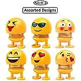 GS Grow n Shine Car Ornaments Smiley Shaking Head Dolls Cute Cartoon Funny Emoji Wobble Head Robot Dashboard Car Decorations Car Accessories Set of - 6 Random Design