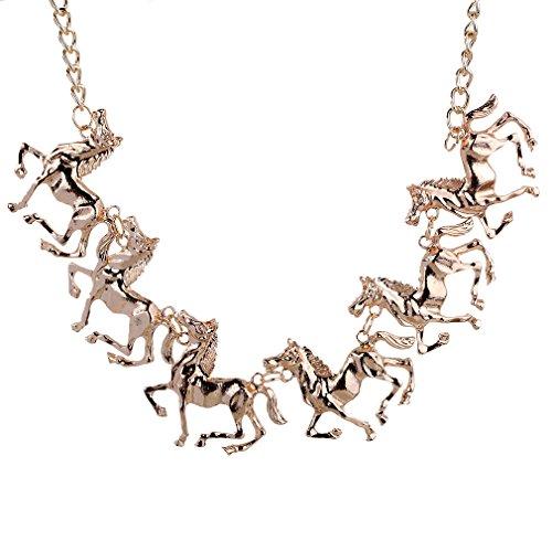 Yazilind Klassiker Luxus Golden Horses Alloy Bib-Kragen-Halskette Punk Geschenk (Golden-beleuchtung Bronze-beleuchtung)