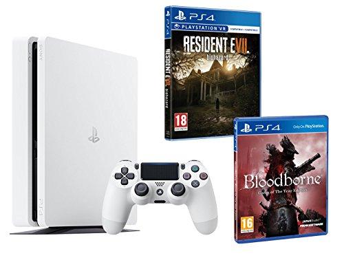 PS4 Slim 500Go Blanche Playstation 4 PACK 2 jeux - Bloodborne GOTY + Resident Evil VII