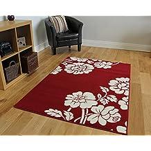 Tappeto per soggiorno morbido e accogliente con motivo floreale, colore rosso - 5 formati