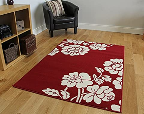 Milan Soft Touch Red Floral Fireplace Rug 1915-R55 - 5 Sizes