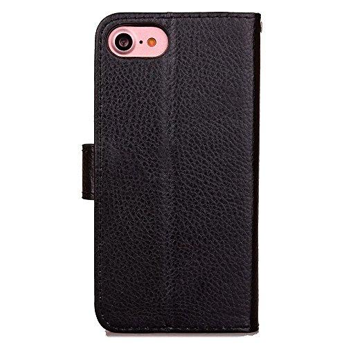 iPhone Case Cover Normallack-Litschi-Korn-Muster-Mappen-Standplatz-Leder-Kasten-weiche TPU Abdeckung für Apple IPhone 7 ( Color : Blue , Size : IPhone 7 ) Black