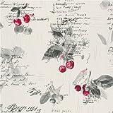 RASCH - Tapete Luxuriös Kirschen Rezepte Backen Texturierte Vinyl Küchen Tapete - Rot Grau Weiß 837513