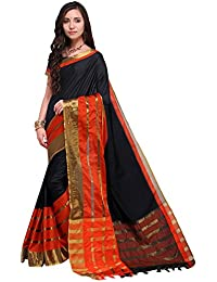Mrinalika Fashion Cotton Silk Saree With Blouse Piece (Black_sarees For Women Latest Design 9AURA9003_Free Size)