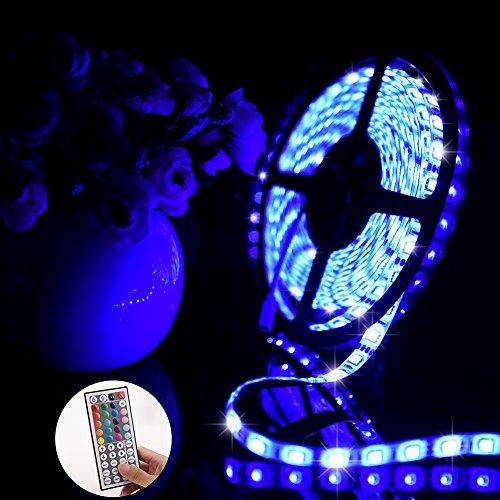 Ledgle 16.4ft LED Ribbon, 300LEDs SMD5050 LED Strip, RGB Cambiamento di colore, impermeabile, 44 telecomando a chiave, adattatore di alimentazione 12V 5A, per uso interno ed esterno