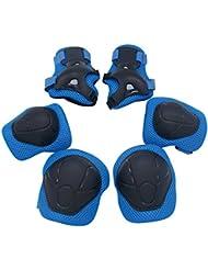 CT-Tribe Protections Roller Sets de Protection Enfant Genouillère Coudière Protège-poignet pour Cyclisme Roller Patinage Ski Vélo VTT Skate-board - Rouge, bleu, rose, vert