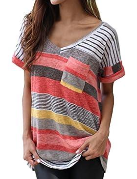 Smalltile Mujeres Verano Camisetas Pullover Casual Camisa Manga Corta Cuello V Blusa Rayadas Patchwork Elástico...