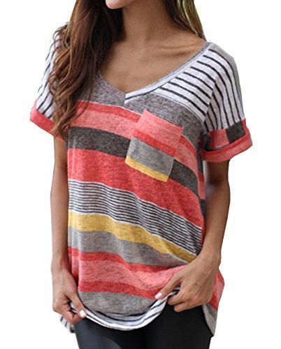 Foto de Smalltile Mujeres Verano Camisetas Pullover Casual Camisa Manga Corta Cuello V Blusa Rayadas Patchwork Elástico Tops